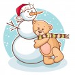 Teddy and snowman — Stock Vector