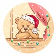 Stock Vector: Christmas teddy
