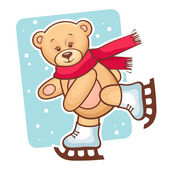 Teddy bear skating — Stock Vector