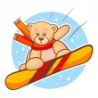 Teddy bear snowboarding — Stock Vector