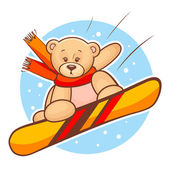 Teddy bear snowboarding — Vecteur