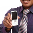 Stock Photo: Indiyoung businessmposing with mobile phone