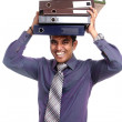 Indian young businessman heavy files — Stock Photo