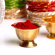 Stock Photo: Turmeric and kumkum powder with Ornaments