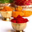 Turmeric and kumkum powder with Ornaments — 图库照片