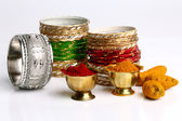 Turmeric and kumkum powder with Ornaments — Stock Photo