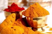 Turmeric and kumkum powder — Stock Photo