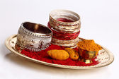 Turmeric and kumkum powder with Ornaments — ストック写真