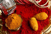 Turmeric and kumkum powder with Ornaments — Fotografia Stock