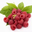 Raspberry with green leaf — Stock Photo