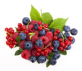 Currants, blueberries and raspberries — Stock Photo