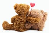 Olhar de energiaursos de pelúcia com coração amor rosa — Foto Stock