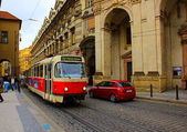 Prague red Tram detail, Czech Reublic — Stock Photo