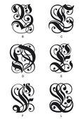 Gotiska initialer bokstäver — Stockvektor