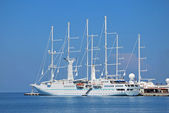 Big cruise yacht in the Mediterranean Sea — Stock Photo