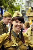 Girl in form of the soldier of Red Army — Stock Photo