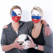 Football soccer fans friends — Stock Photo #10963332