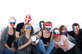 Football soccer fans friends — Stock Photo