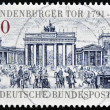 Stock Photo: GERMANY - CIRC1991: stamp printed in Germany dedicated to 200th anniversary of Brandenburg Gate, Berlin, circ1991