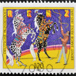 Постер, плакат: GERMANY CIRCA 1992: A stamp printed in Germany is dedicated to Ernst Jakob Renz Circus Director shows the training of horses circa 1992