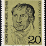 Постер, плакат: GERMANY CIRCA 1970 A stamp printed in Germany showing portrait of German philosopher Georg Wilhelm Friedrich Hegel circa 1970