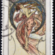 "CZECHOSLOVAKIA - CIRCA 1969: A stamp printed in Czechoslovakia shows women allegory ""Dance"" paintings by Alfons Mucha, circa 1969 — Stock Photo"