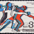 CZECHOSLOVAKI- CIRC1980: stamp printed in Czechoslovakidedicated to 22nd Olympic Games, Moscow, shows fencing, circ1980. — Stock Photo #10893493