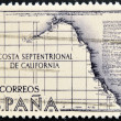 SPAIN - CIRCA 1967: A stamp printed in Spain shows the northern coast of California, circa 1967 — Stock Photo