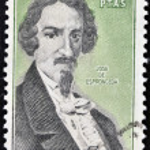SPAIN - CIRCA 1980: A stamp printed in Spain shows Jose de Espronceda was a famous Romantic Spanish poet, circa 1980. — Stock Photo #10893828
