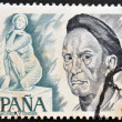 SPAIN - CIRCA 1978: A stamp printed in spain shows Jose Clara and sculpture Goddess, Plaza Catalunya in Barcelona, circa 1978 — Stock Photo