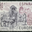 SPAIN - CIRCA 1981: A stamp printed in Spain shows pilgrimage of the Virgen del Rocio, circa 1981 - Stockfoto