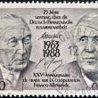 FRANCE - CIRC1988: stamp printed in France, dedicated to 25th anniversary of Franco-GermCooperation Treaty, shows Konrad Adenauer and Charles de Gaulle, circ1988 — Stock Photo #10894132