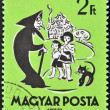 HUNGARY - CIRCA 1959: A stamp printed in Hungary showing Hansel and Gretel and the wicked witch, circa 1959 — Stock Photo