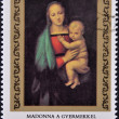 "HUNGARY - CIRCA 1983: stamp printed in Hungary, shows Painting by Raphael ""Madonna and Child"", circa 1983 — Stock Photo #10894251"