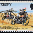 JERSEY - CIRCA 1980: A stamp printed in Jersey shows 60th anniversary Jersey motor cycle & light car club, circa 1980 — Stock Photo