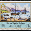 JERSEY - CIRCA 1983: A stamp printed in Jersey shows the Tamar and Dolphin at Port Egmont on the Falkland Islands, circa 1983 — Stock Photo #10894396