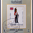MANAMA - CIRCA 1970: A stamp printed in Manama shows Regiment of Dragoons, 1812, circa 1970 - Zdjcie stockowe