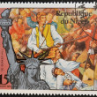 NIGER - CIRCA 1976: A stamp printed in Niger shows Joseph Warren, martyr of Bunker Hill and statue of liberty, circa 1976 — Stock Photo