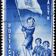 NEW ZEALAND - CIRCA 1953: A stamp printed in New Zealand shows young women scout with the flag and the word health, circa 1953 — Stock Photo