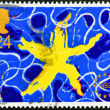 UNITED KINGDOM - CIRCA 1992: a stamp printed in the Great Britain shows Yellow Star on Blue Background, Single European Market, circa 1992 — Foto Stock