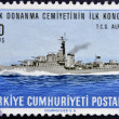Stock Photo: TURKEY - CIRC1965: stamp printed in Turkey dedicated to First Congress of marine community of turkey, shows T.C.G. Alpaslan, circ1965