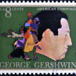 UNITED STATES OF AMERICA - CIRCA 1973: A stamp printed in USA shows  the great American classical and jazz composer and pianist George Gershwin,  circa 1973 - Stok fotoraf