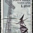 VATICAN - CIRCA 1970: A stamp printed in Vatican shows marble statue of angel and metal cross, circa 1970 - Stockfoto