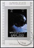 AJMAN STATE - CIRCA 1973: A stamp printed in United Arab Emirates (UAE) shows Explorer 17 series satellites, circa 1973 — Stockfoto