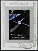 AJMAN STATE - CIRCA 1973: A stamp printed in United Arab Emirates (UAE) shows Explorer 22 / 27 series satellites, circa 1973 — Zdjęcie stockowe