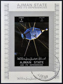AJMAN STATE - CIRCA 1973: A stamp printed in United Arab Emirates (UAE) shows Explorer 20 series satellites, circa 1973 — Foto de Stock