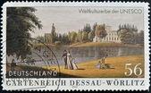 GERMANY - CIRCA 2002: A stamp printed in Germany shows Garden Kingdom of Dessau-Wörlitz , Dessau Anhalt Art Gallery, Prints and Drawings, circa 2002 — Stock fotografie