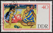 GERMANY - CIRCA 1967: A stamp printed in Germany shows Tahitian Beach by Paul Gauguin, circa 1967 — Stock Photo