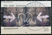 GERMANY - CIRCA 2002: A stamp printed in Germany dedicated to for more tolerance, shows wall painted with the word tolerance, circa 2002 — Stock Photo