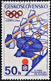 CZECHOSLOVAKIA - CIRCA 1972: A stamp printed in Czechoslovakia shows a downhill skier player to mark the 1972 Winter Olympics, circa 1972 — Stock Photo
